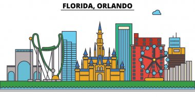 Florida, Orlando.City skyline: architecture, buildings, streets, silhouette, landscape, panorama, landmarks, icons. Editable strokes. Flat design line vector illustration concept.