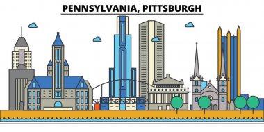 Pennsylvania, Pittsburgh.City skyline: architecture, buildings, streets, silhouette, landscape, panorama, landmarks, icons. Editable strokes. Flat design line vector illustration concept.