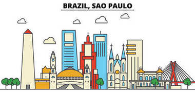 Brazil, Sao Paulo. City skyline: architecture, buildings, streets, silhouette, landscape, panorama, landmarks. Editable strokes. Flat design line vector illustration concept. Isolated icons set