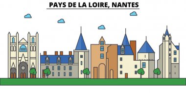 France, Nantes, Pays De La Loire. City skyline: architecture, buildings, streets, silhouette, landscape, panorama, landmarks. Editable strokes. Flat design line vector illustration concept. Isolated