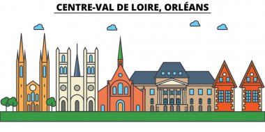 France, Orleans, Centre Val De Loire . City skyline: architecture, buildings, streets, silhouette, landscape, panorama, landmarks, icons. Editable strokes . Flat design line vector illustration