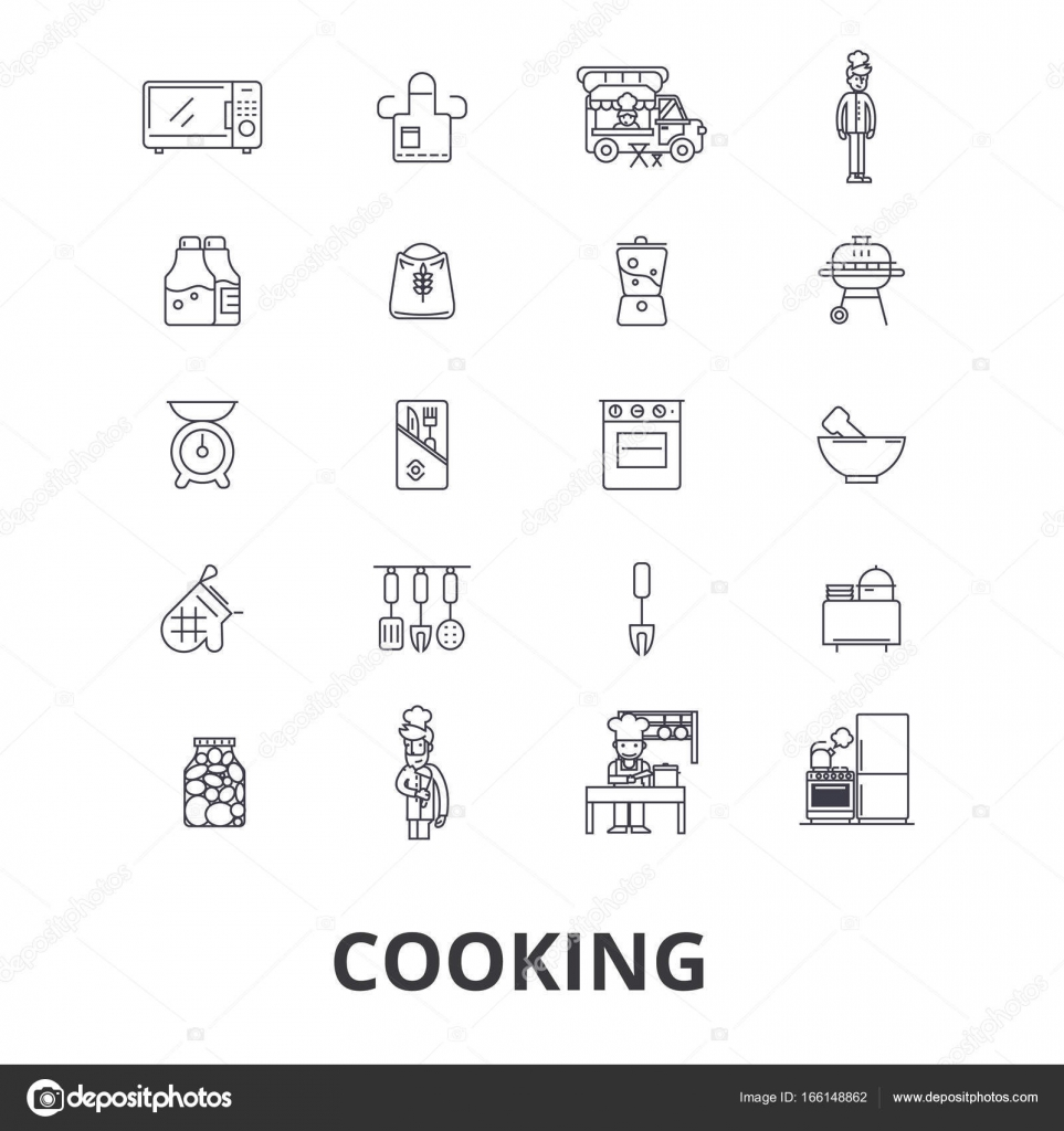 Cooking kitchen food chef chef class baking recipe utensils cooking kitchen food chef chef class baking recipe utensils line icons editable strokes flat design vector illustration symbol concept buycottarizona Choice Image