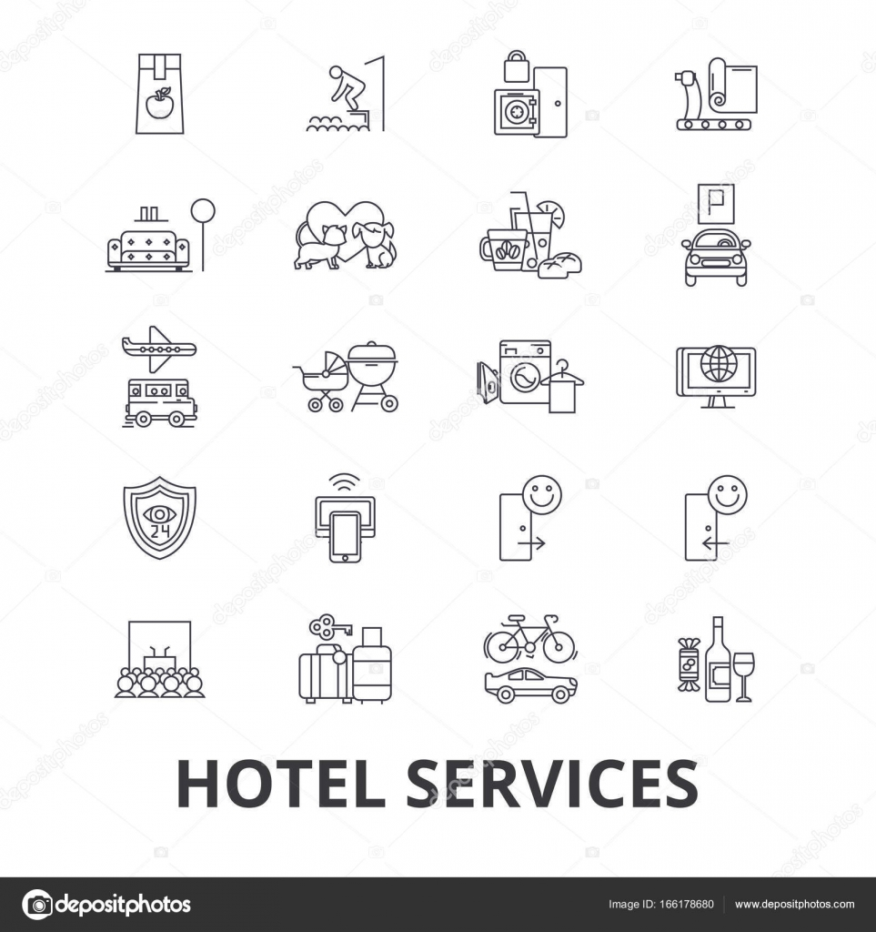 Hotel services room service tourism receptionist line icons hotel services room service tourism receptionist line icons editable strokes flat design vector illustration symbol concept linear signs isolated on biocorpaavc Gallery