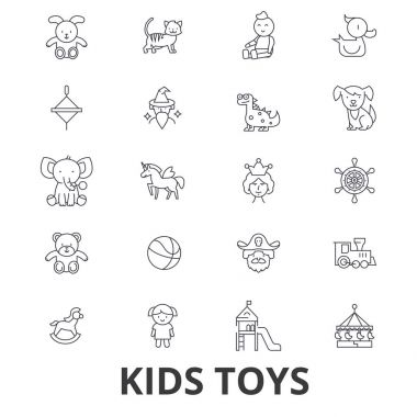 Kids toys, playing, baby toy, children toy, kids room, teddy bear, yule, pirate line icons. Editable strokes. Flat design vector illustration symbol concept. Linear signs isolated