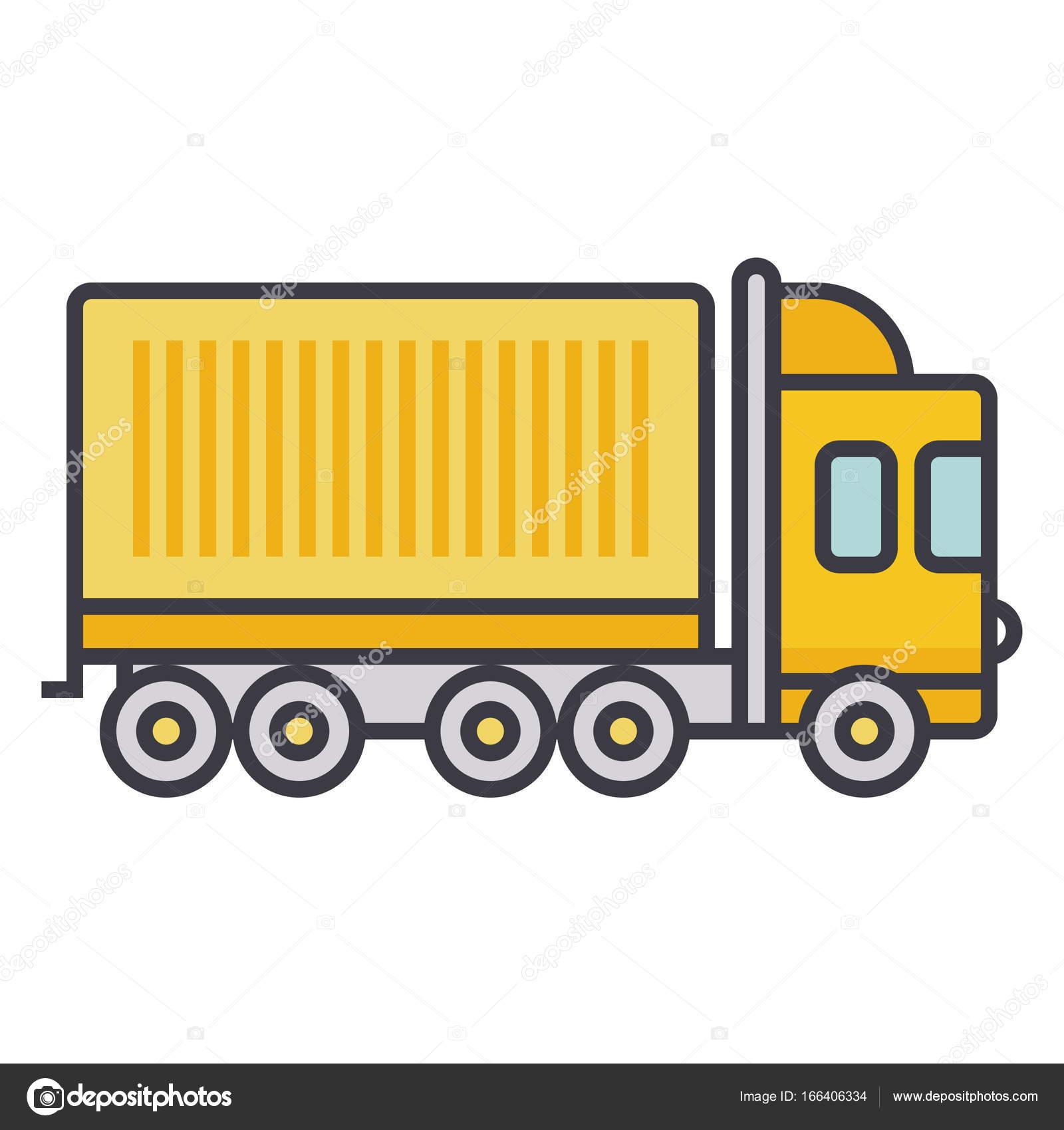 LKW Ladung Container flache Linie Abbildung, isoliert Konzept Vektor ...