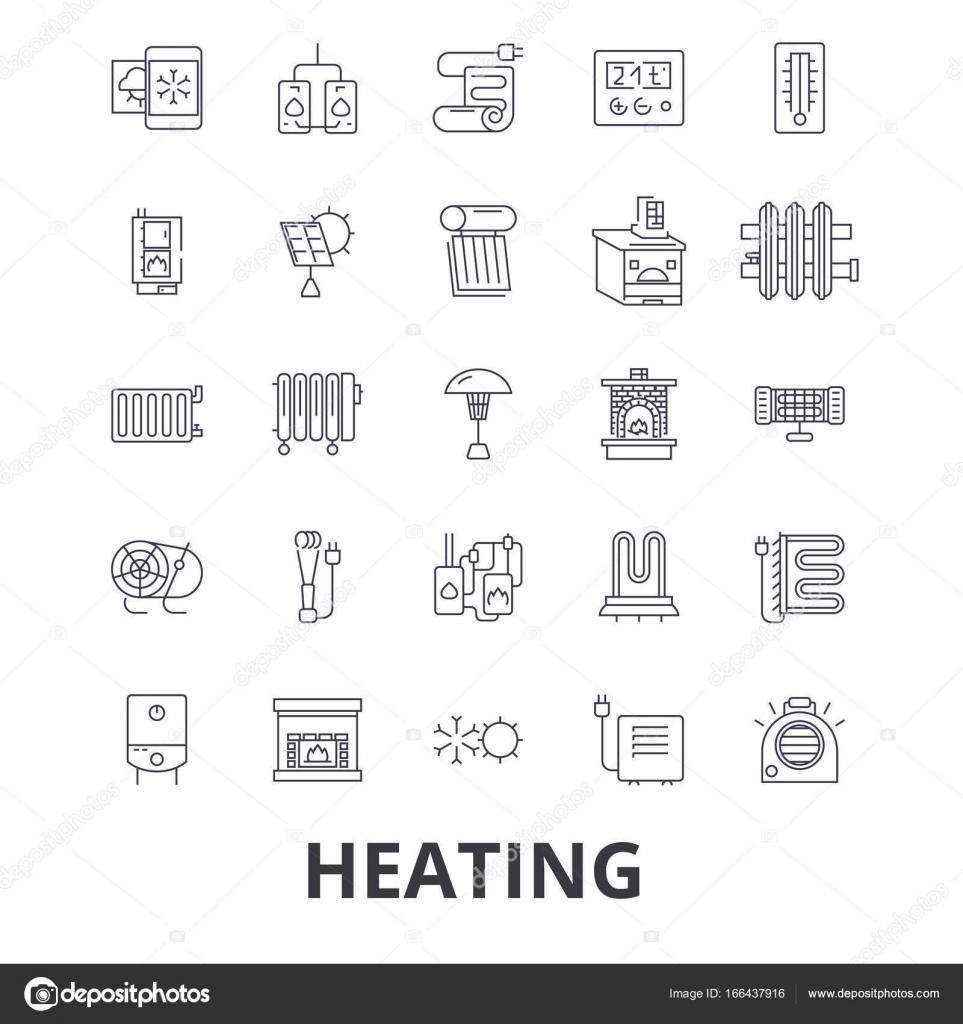 Riscaldamento, caldo, cuore, termosifoni, radiatori, impianto ...