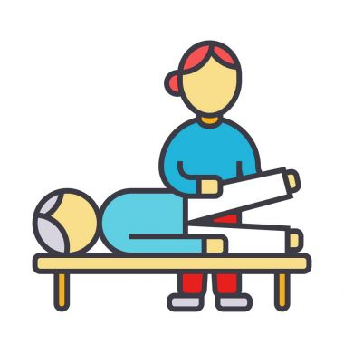 Osteopathy, manual therapy, massage flat line illustration, concept vector isolated icon