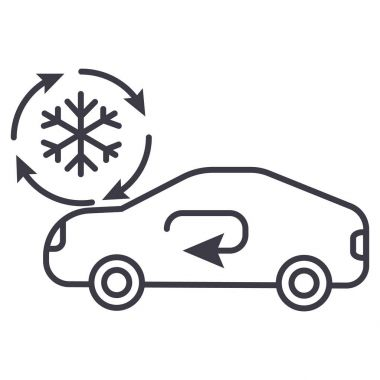 Air conditioning, car service vector line icon, sign, illustration on white background, editable strokes clip art vector