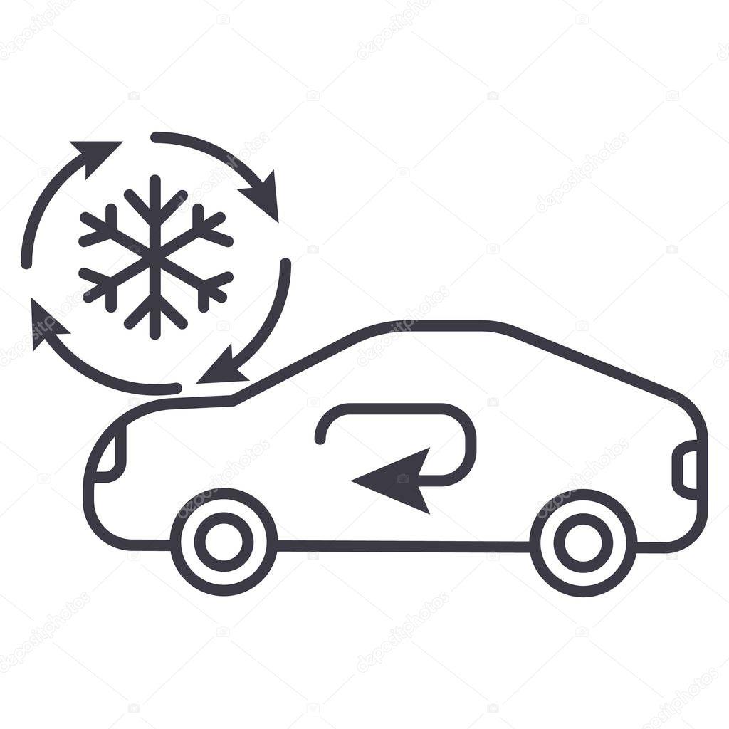 klimaanlage auto service vektor linie symbol zeichen illustration auf hintergrund. Black Bedroom Furniture Sets. Home Design Ideas