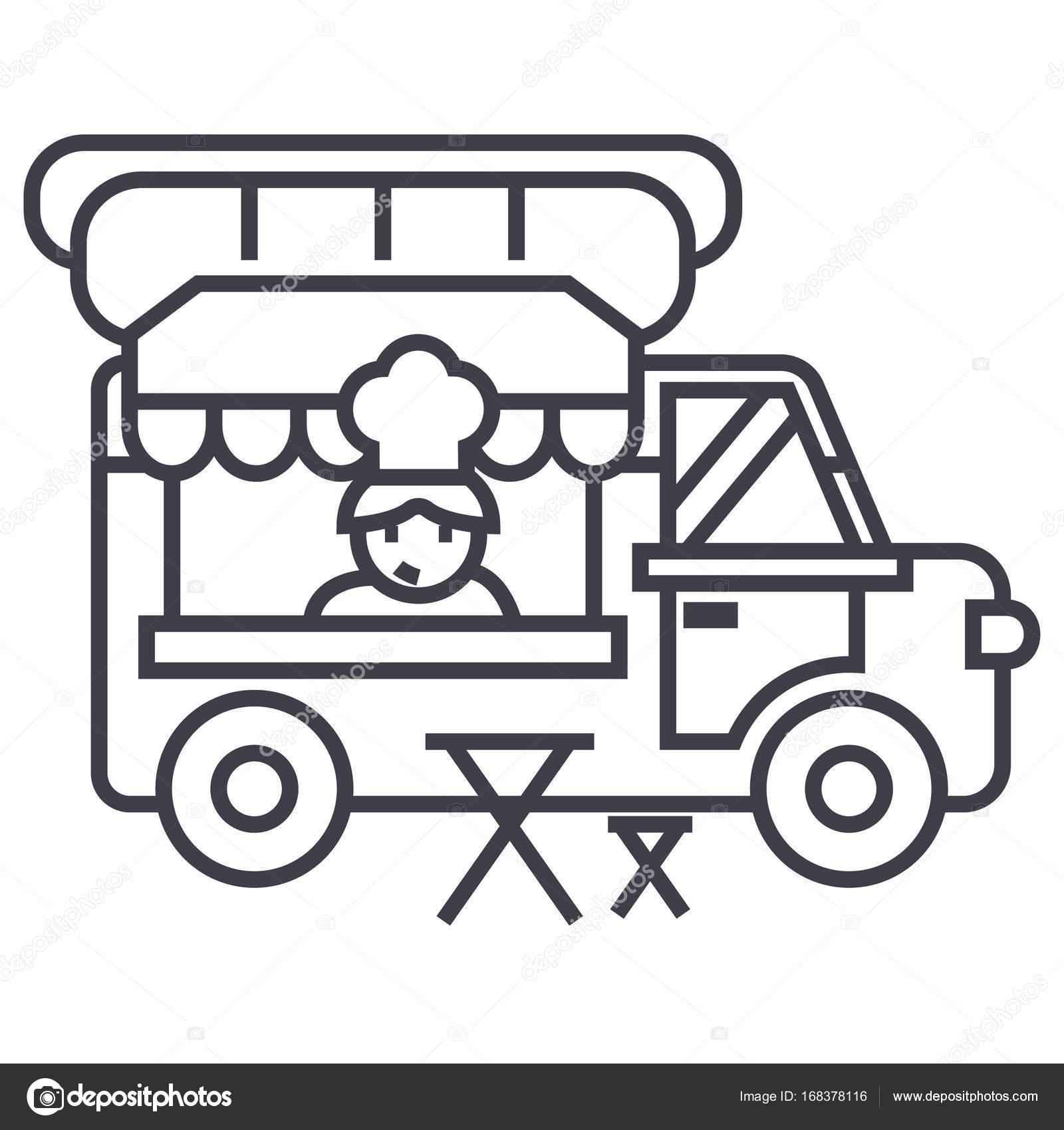 carro de comida, calle cocina móvil vector línea icono, signo ...