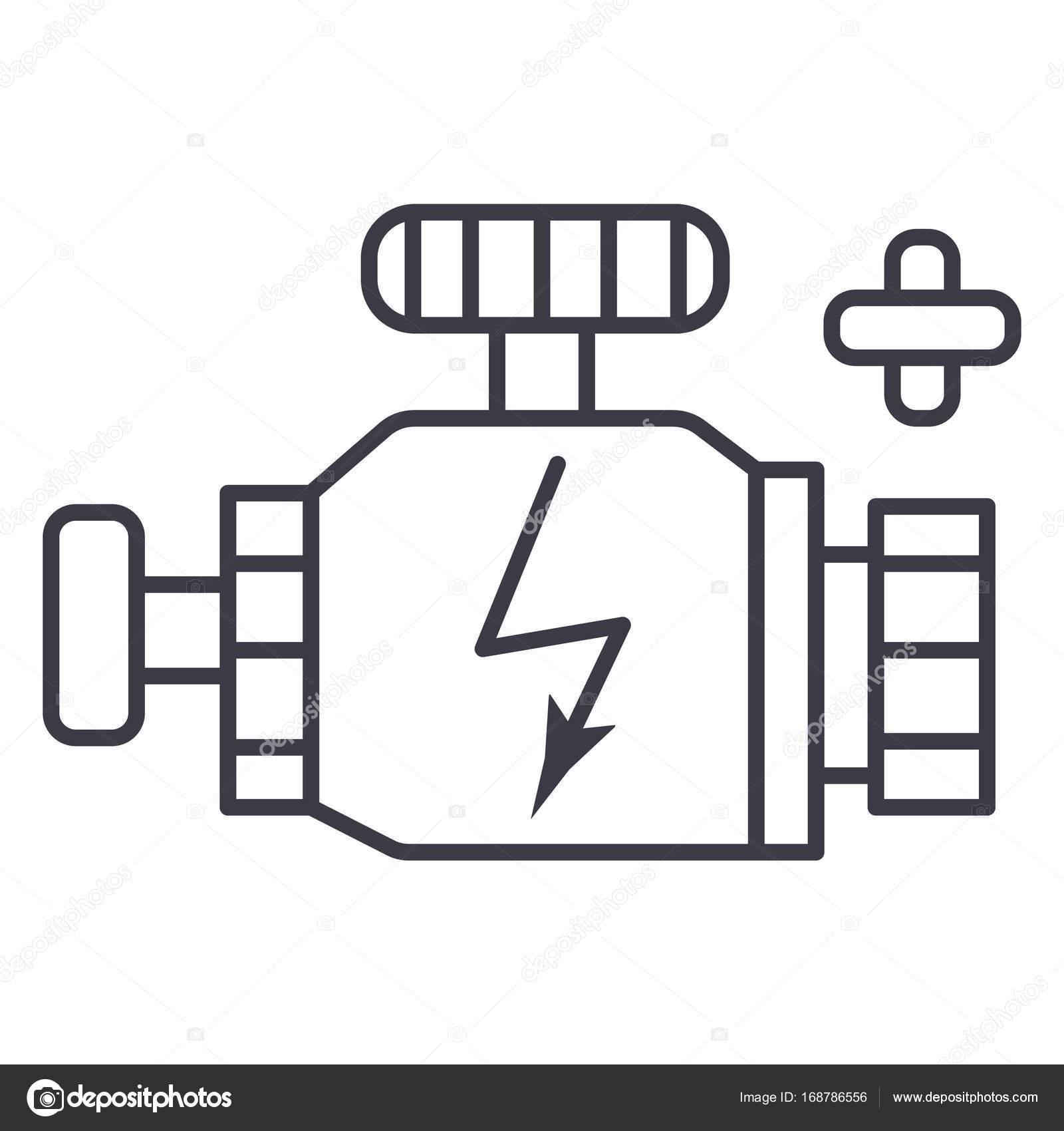 Auto Motor Teken Vector Lijn Pictogram Teken Afbeelding Op De
