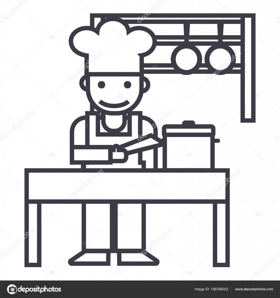 Cooker,shef,kitchen, Restaurant Vector Line Icon, Sign