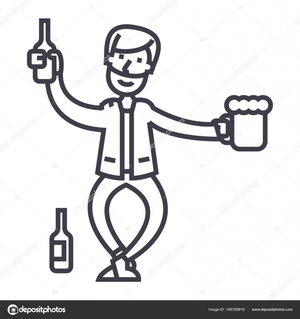 Drunk Man Vector Line Icon Sign Illustration On Background