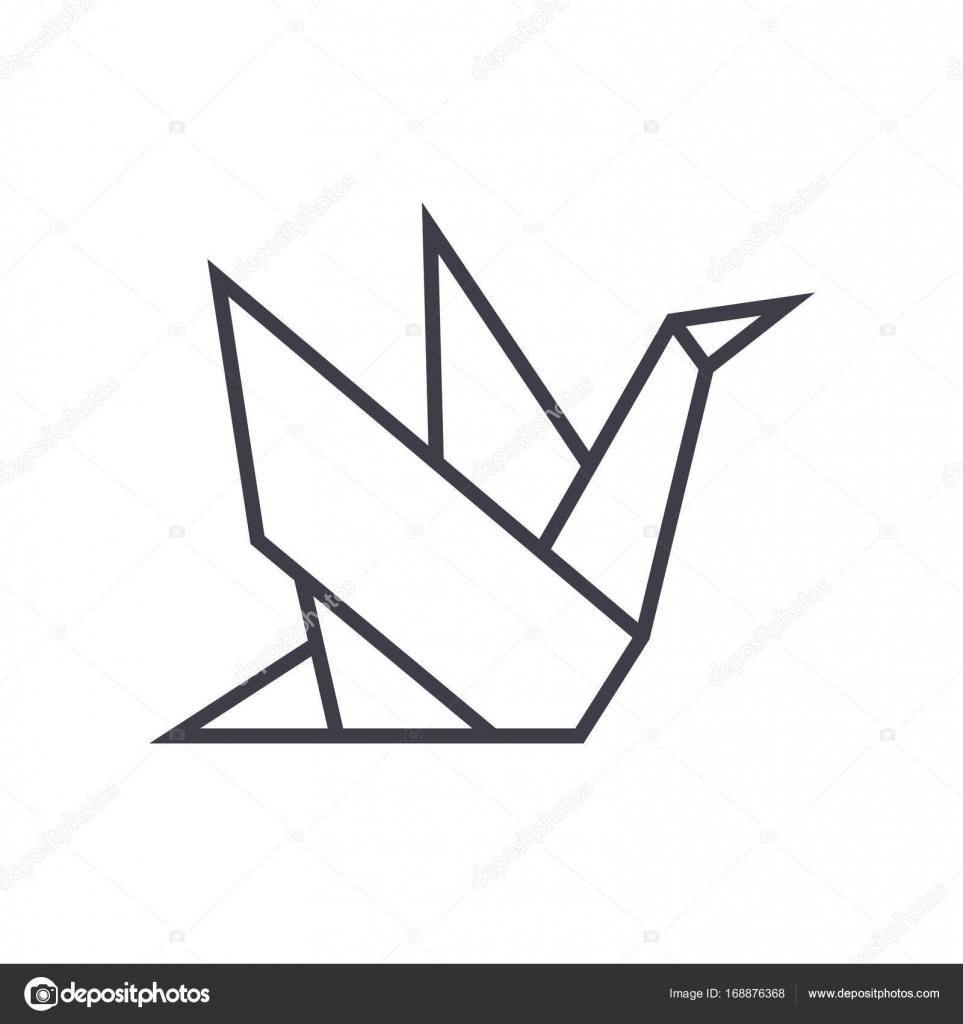 Icône Dorigami Vecteur Ligne Signe Illustration Sur Fond Traits
