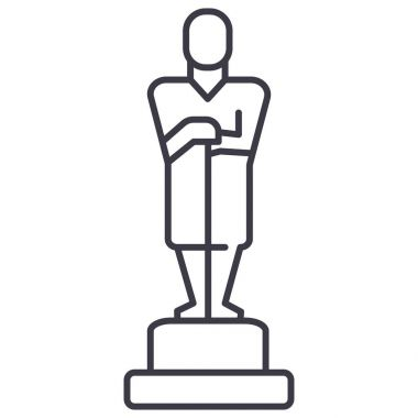 oscar,trophy vector line icon, sign, illustration on background, editable strokes