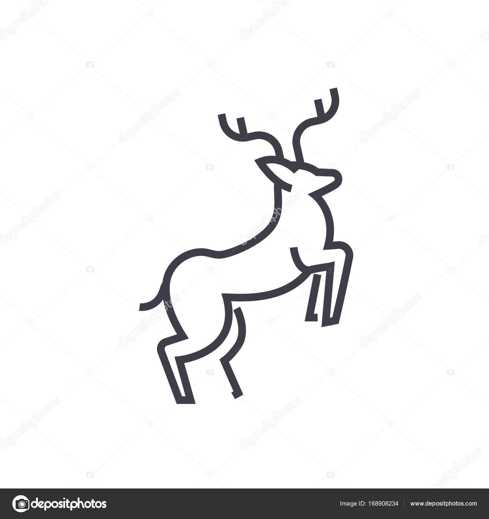 Linie Hirsch Illustration Vektor Liniensymbol, Zeichen, Abbildung ...