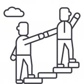 Photo mentor,helping,mentoring,achieving goal vector line icon, sign, illustration on background, editable strokes