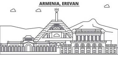 Armenia, Erevan architecture line skyline illustration. Linear vector cityscape with famous landmarks, city sights, design icons. Landscape wtih editable strokes