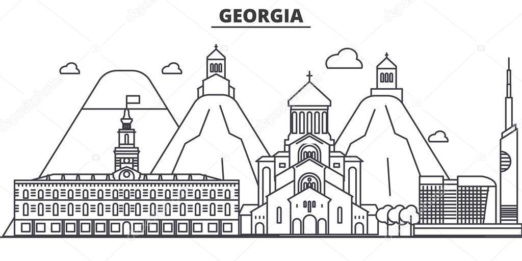 Georgia architecture line skyline illustration. Linear vector cityscape with famous landmarks, city sights, design icons. Landscape wtih editable strokes