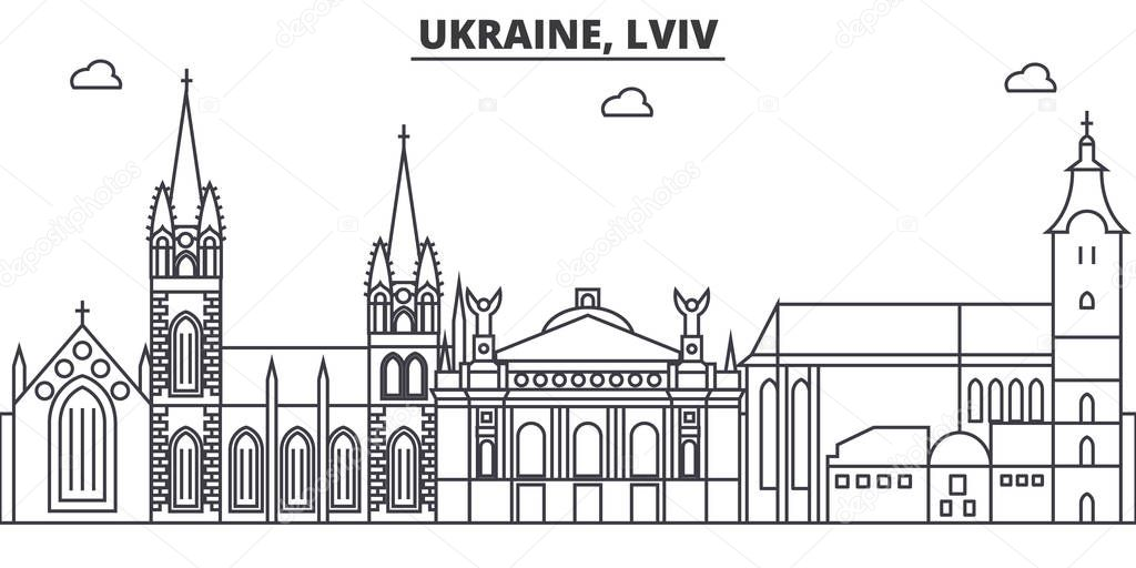 Ukraine, Lviv architecture line skyline illustration. Linear vector cityscape with famous landmarks, city sights, design icons. Landscape wtih editable strokes