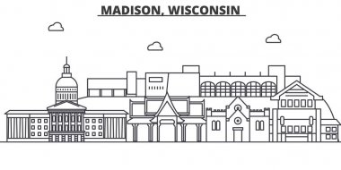 Madison, Wisconsin architecture line skyline illustration. Linear vector cityscape with famous landmarks, city sights, design icons. Landscape wtih editable strokes