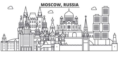Russia, Moscow architecture line skyline illustration. Linear vector cityscape with famous landmarks, city sights, design icons. Landscape wtih editable strokes
