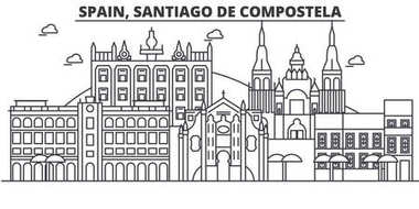 Spain, Santiago De Compostela architecture line skyline illustration. Linear vector cityscape with famous landmarks, city sights, design icons. Landscape wtih editable strokes