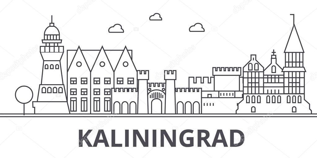 Kaliningrad architecture line skyline illustration. Linear vector cityscape with famous landmarks, city sights, design icons. Landscape wtih editable strokes