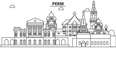 Russia, Perm architecture line skyline illustration. Linear vector cityscape with famous landmarks, city sights, design icons. Landscape wtih editable strokes
