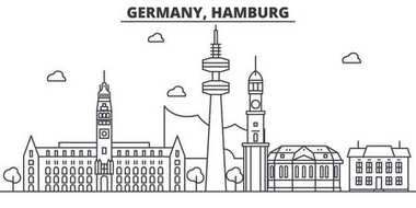 Germany, Hamburg architecture line skyline illustration. Linear vector cityscape with famous landmarks, city sights, design icons. Landscape wtih editable strokes