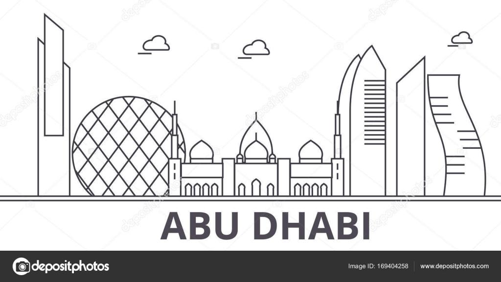 Abu Dhabi Architecture Line Skyline Illustration Linear