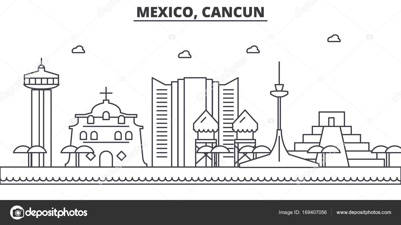 Mexico Cancun Architecture Line Skyline Illustration Linear Vector