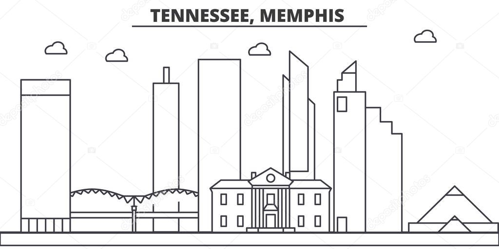 Tennessee, Memphis architecture line skyline illustration. Linear vector cityscape with famous landmarks, city sights, design icons. Landscape wtih editable strokes