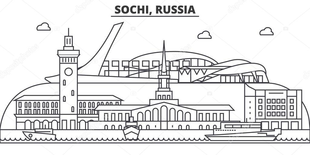 Russia, Sochi architecture line skyline illustration. Linear vector cityscape with famous landmarks, city sights, design icons. Landscape wtih editable strokes