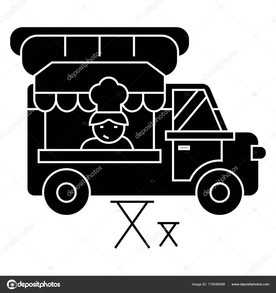 Essen LKW - Suppen - mobile Küche Symbol, Vektor-Illustration ...