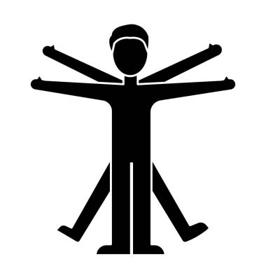 man vitruvian  icon, vector illustration, black sign on isolated background