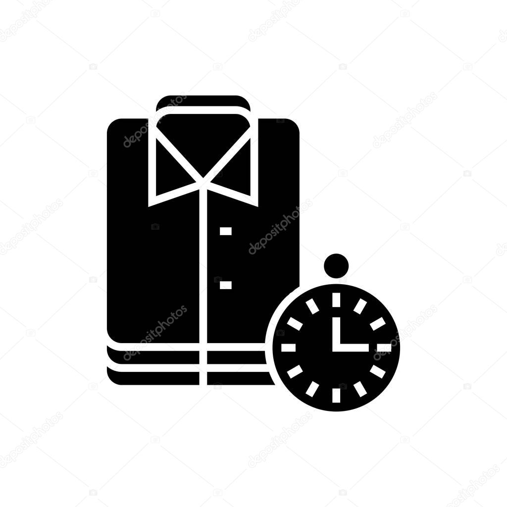 laundry - cleaning cloths - express cleaning icon, vector illustration, black sign on isolated background