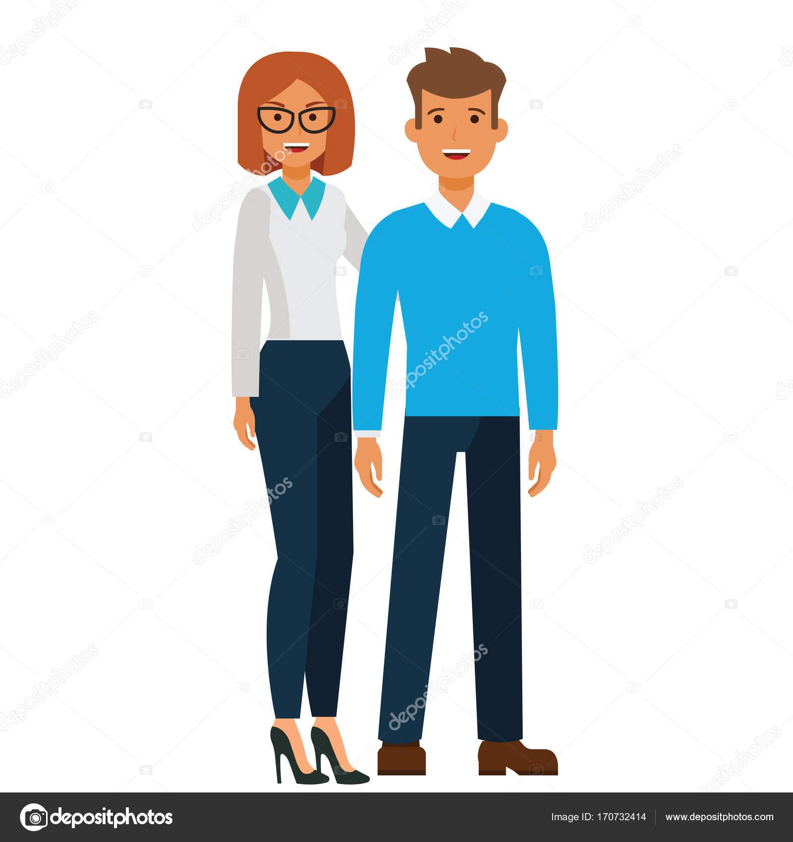 Pie Feliz Pareja, Hombre Y Mujer De Dibujos Animados
