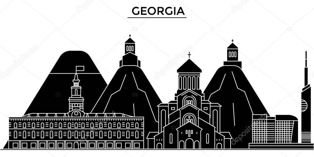 Georgia architecture vector city skyline, travel cityscape with landmarks, buildings, isolated sights on background