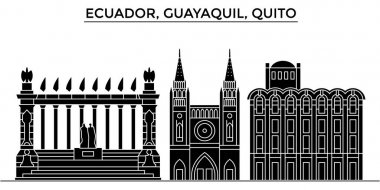 Ecuador, Guayaquil, Quito architecture vector city skyline, travel cityscape with landmarks, buildings, isolated sights on background