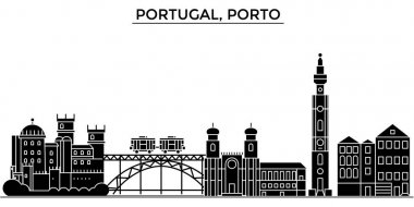 Portugal, Porto architecture vector city skyline, travel cityscape with landmarks, buildings, isolated sights on background
