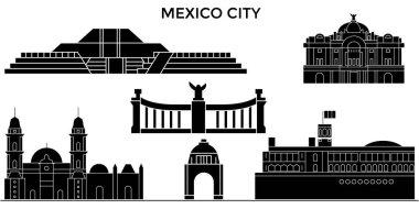Mexico City architecture urban skyline with landmarks, cityscape, buildings, houses, ,vector city landscape, editable strokes