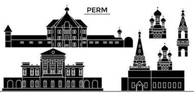 Russia, Perm architecture urban skyline with landmarks, cityscape, buildings, houses, ,vector city landscape, editable strokes