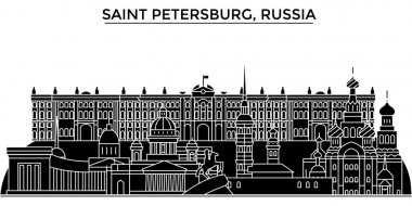 Russia, Saint Petersburg architecture urban skyline with landmarks, cityscape, buildings, houses, ,vector city landscape, editable strokes