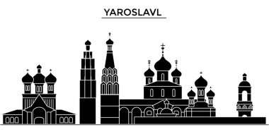Russia, Yaroslavl architecture urban skyline with landmarks, cityscape, buildings, houses, ,vector city landscape, editable strokes