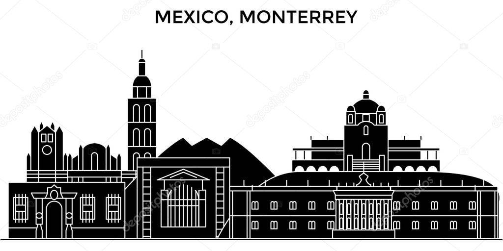 Mexico, Monterrey architecture urban skyline with landmarks, cityscape, buildings, houses, ,vector city landscape, editable strokes