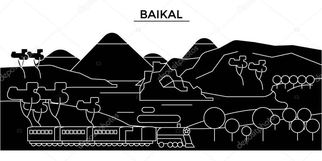 Russia, Baikal architecture urban skyline with landmarks, cityscape, buildings, houses, ,vector city landscape, editable strokes