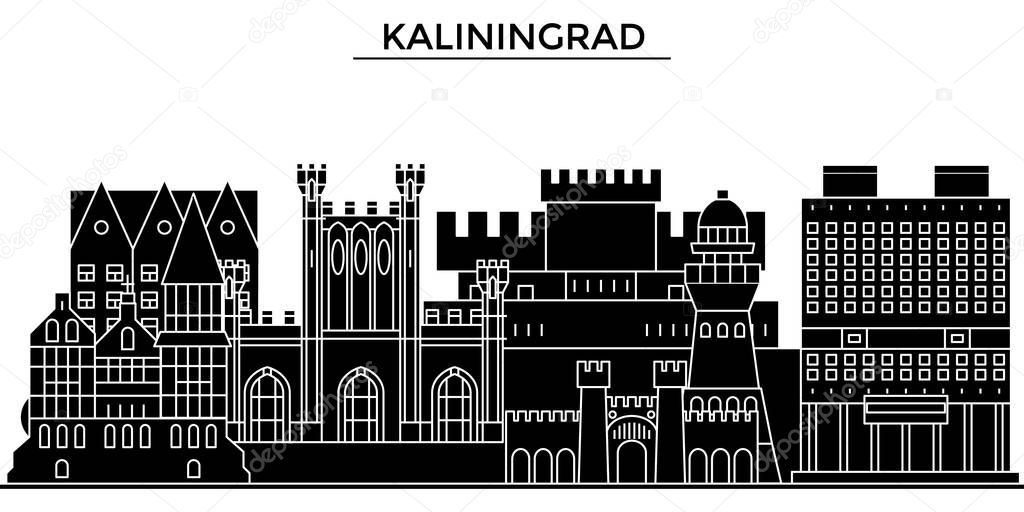 Russia, Kaliningrad architecture urban skyline with landmarks, cityscape, buildings, houses, ,vector city landscape, editable strokes