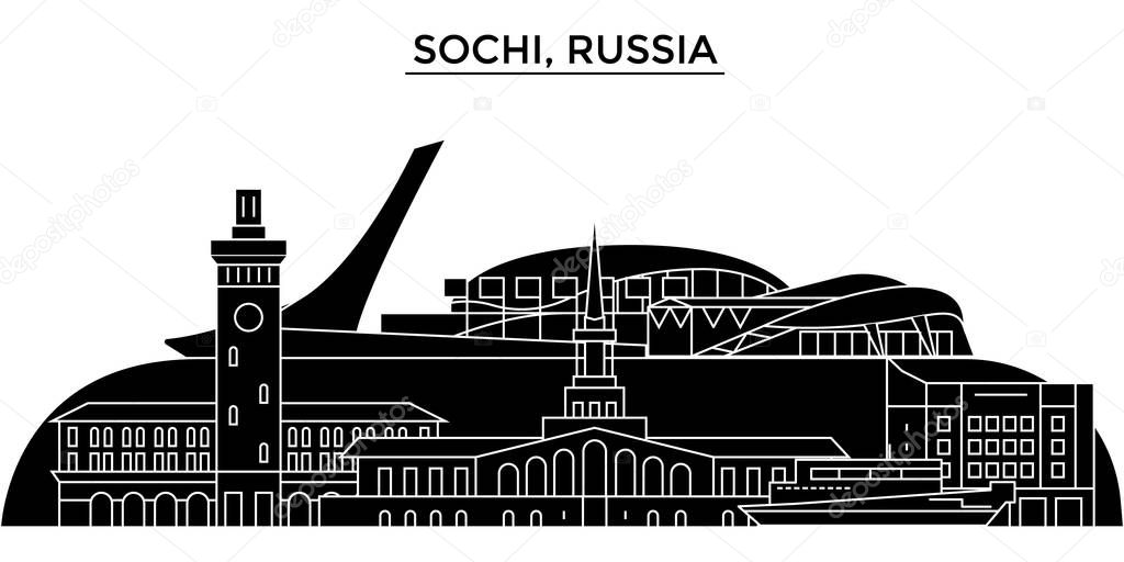 Russia, Sochi architecture urban skyline with landmarks, cityscape, buildings, houses, ,vector city landscape, editable strokes