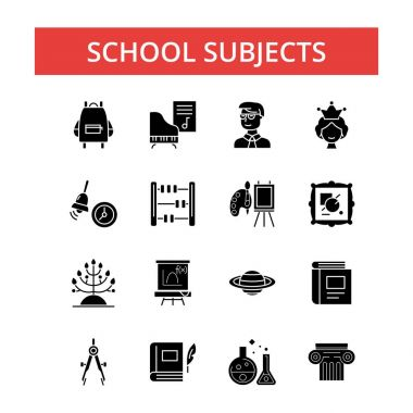 School subjects illustration, thin line icons, linear flat signs, vector symbols, outline pictograms set, editable strokes